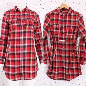 Dresses & Skirts - Plaid Button Up Shirt Dress with Belt Red